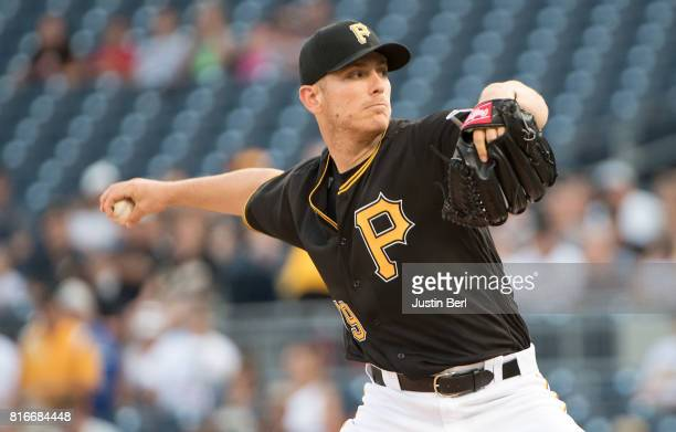 Chad Kuhl of the Pittsburgh Pirates delivers a pitch in the first inning during the game against the Milwaukee Brewers at PNC Park on July 17 2017 in...