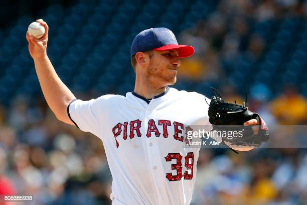 Chad Kuhl of the Pittsburgh Pirates pitches in the first inning against the San Francisco Giants at PNC Park on July 1 2017 in Pittsburgh Pennsylvania