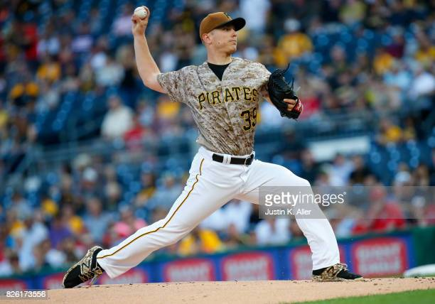 Chad Kuhl of the Pittsburgh Pirates pitches in the first inning against the Cincinnati Reds at PNC Park on August 3 2017 in Pittsburgh Pennsylvania