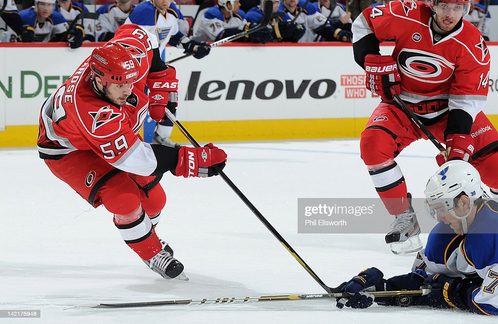 <a gi-track='captionPersonalityLinkClicked' href=/galleries/search?phrase=Chad+LaRose&family=editorial&specificpeople=546026 ng-click='$event.stopPropagation()'>Chad LaRose</a> #59 of the Carolina Hurricanes can't get the puck past Ryan Reaves #75 of the St. Louis Blues during an NHL game on March 15, 2012 at PNC Arena in Raleigh, North Carolina.