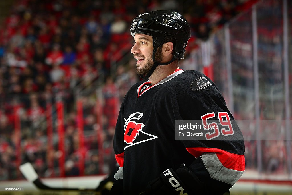 <a gi-track='captionPersonalityLinkClicked' href=/galleries/search?phrase=Chad+LaRose&family=editorial&specificpeople=546026 ng-click='$event.stopPropagation()'>Chad LaRose</a> #59 of the Carolina Hurricanes cracks a smile during an NHL game against the Tampa Bay Lightning on February 23, 2013 at PNC Arena in Raleigh, North Carolina.