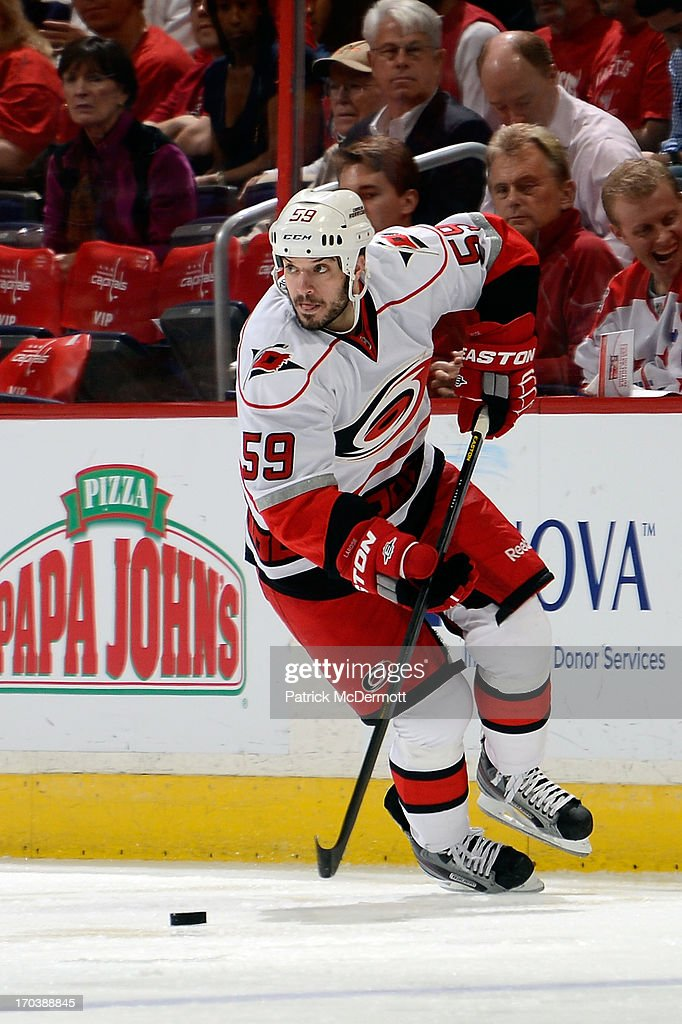 <a gi-track='captionPersonalityLinkClicked' href=/galleries/search?phrase=Chad+LaRose&family=editorial&specificpeople=546026 ng-click='$event.stopPropagation()'>Chad LaRose</a> #59 of the Carolina Hurricanes in action during an NHL game against the Washington Capitals at Verizon Center on April 11, 2013 in Washington, DC.