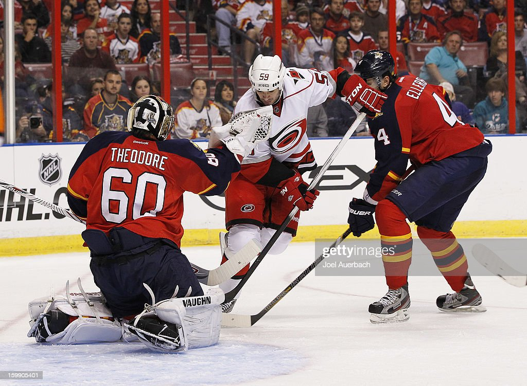Chad LaRose #59 of the Carolina Hurricanes is unable to get a rebound from goaltender Jose Theodore #60 of the Florida Panthers during the season opener at the BB&T Center on January 19, 2013 in Sunrise, Florida. The Panthers defeated the Hurricanes 5-1.