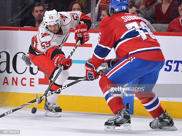 Chad LaRose of the Carolina Hurricanes takes a shot against the Montreal Canadiens during the NHL game on February 18 2013 at the Bell Centre in...