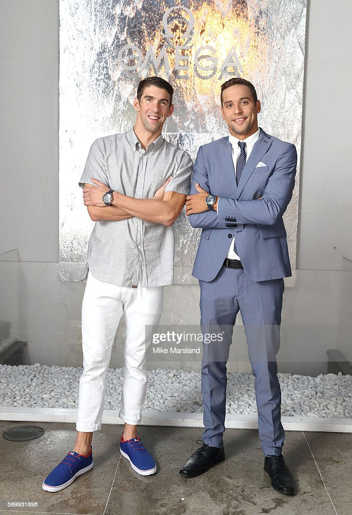 Chad le Clos and Michael Phelps pictured at Swimming Legends night at OMEGA House Rio 2016 on August 15 2016 in Rio de Janeiro Brazil