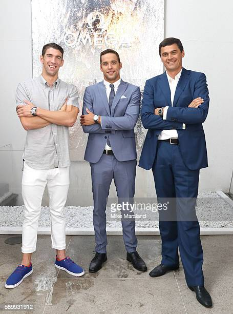 Chad le Clos Michael Phelps and Aleksandr Popov pictured at Swimming Legends night at OMEGA House Rio 2016 on August 15 2016 in Rio de Janeiro Brazil