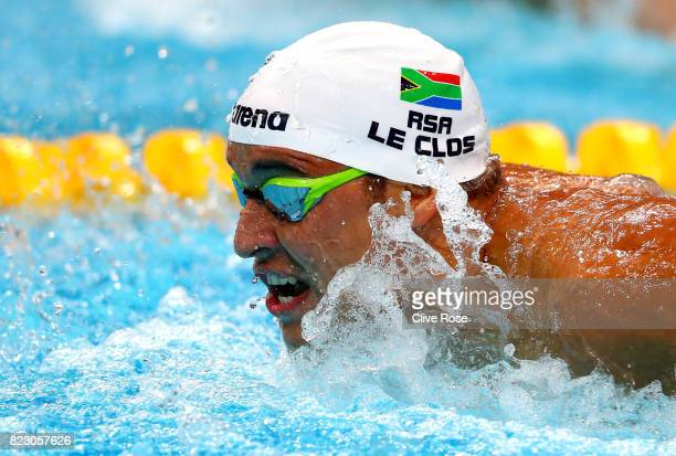 Chad Le Clos of South Africa competes during the Men's 200m Butterfly final on day thirteen of the Budapest 2017 FINA World Championships on July 26...