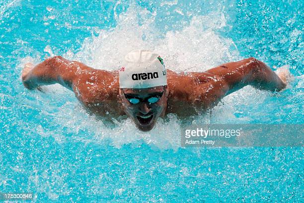 Chad Le Clos of South Africa competes during the Swimming Men's 100m Butterfly preliminaries heat five on day fourteen of the 15th FINA World...