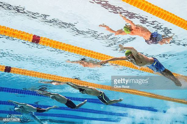 Chad Le Clos of South Africa competes in the Men's 100m Butterfly heats on day fourteen of the 16th FINA World Championships at the Kazan Arena on...