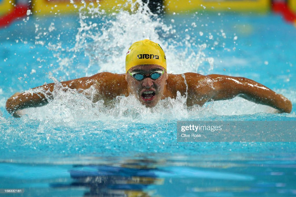 Chad Le Clos of South Africa competes in the Men's 100m Butterfly Final during day two of the 11th FINA Short Course World Championships at the Sinan Erdem Dome on December 13, 2012 in Istanbul, Turkey.