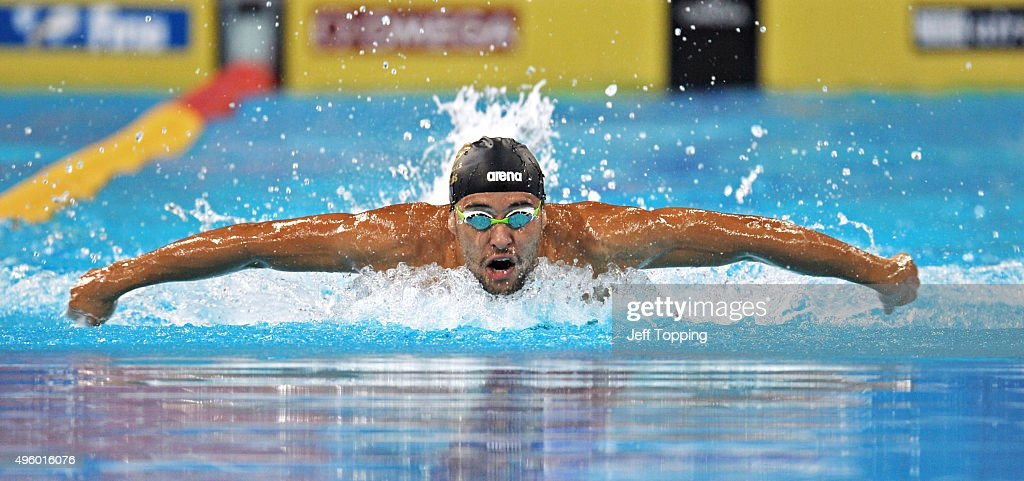 Chad Le Clos of South Africa during the finals of the men's 200 meter Butterfly during day one of the FINA Swimming World Cup 2015 at the Hamdan...