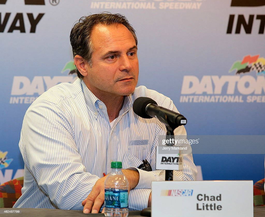 Chad Little, NASCAR Camping World Series Managing Director addresses the media during NASCAR Preseason Thunder at Daytona International Speedway on January 13, 2014 in Daytona Beach, Florida.