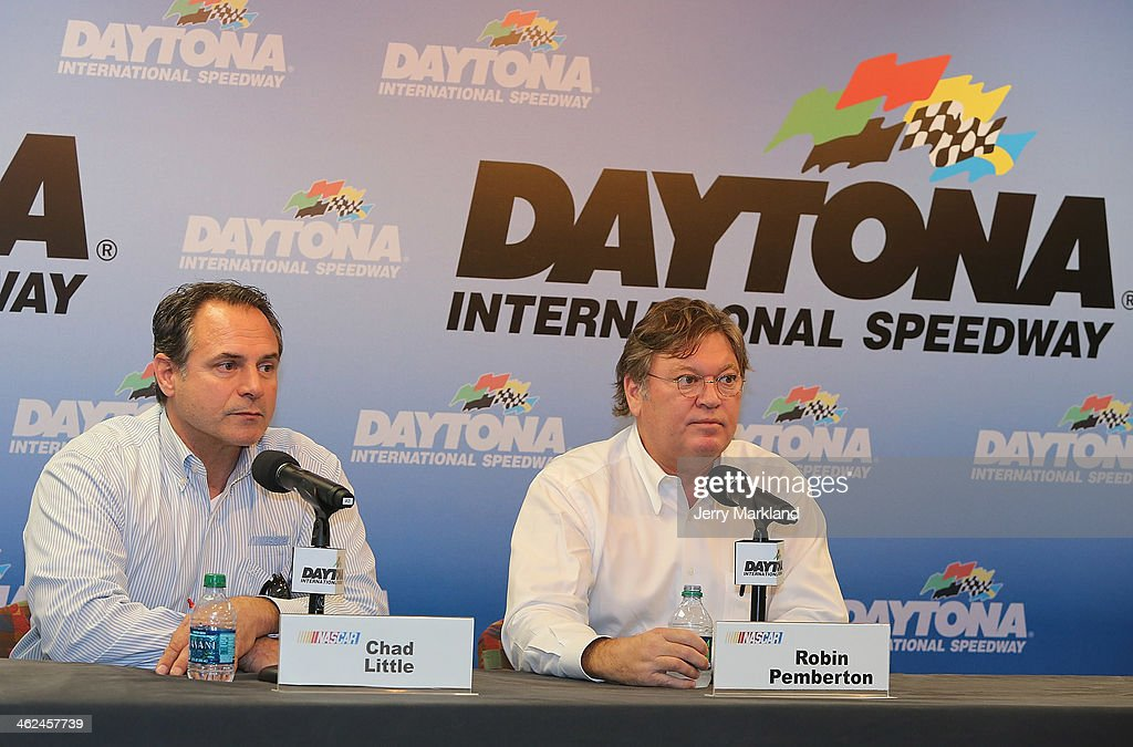 Chad Little, NASCAR Camping World Series Managing Director and Robin Pemberton, Vice President of Competition and Racing Developement address the media during NASCAR Preseason Thunder at Daytona International Speedway on January 13, 2014 in Daytona Beach, Florida.