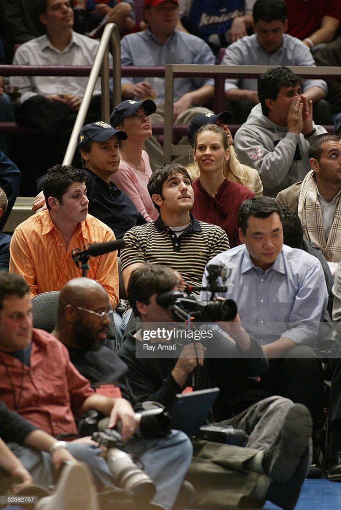 Chad Lowe and Academy Award winning wife, actress Hilary Swank, sit in the stands during Reggie Miller's last game in New York at the Indiana Pacers v New York Knicks NBA game at Madison Square Garden April 5, 2005 in New York City.