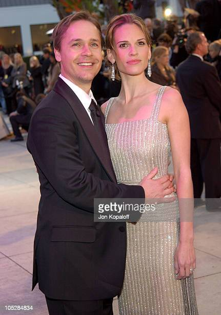 Chad Lowe and Hilary Swank during 2004 Vanity Fair Oscar Party at Mortons in Beverly Hills California United States