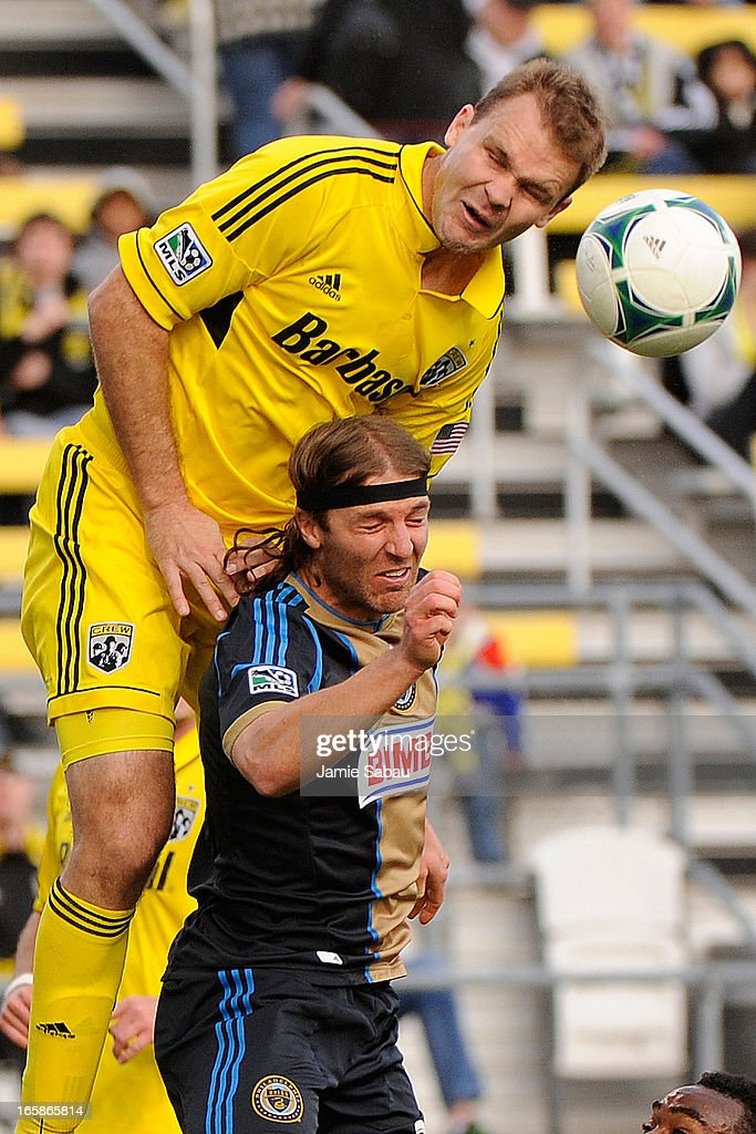 Chad Marshall #14 of the Columbus Crew goes over the top of Jeff Parke #31 of the Philadelphia Union to head the ball in the second half on April 6, 2013 at Crew Stadium in Columbus, Ohio. Columbus and Philadelphia played to a 1-1 tie.