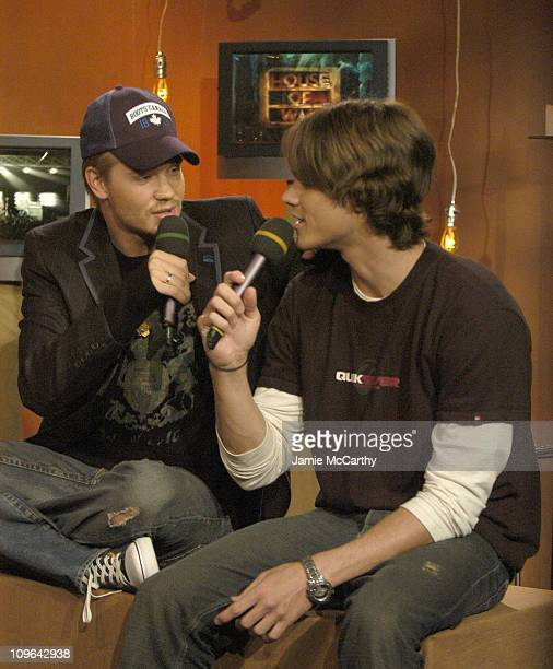 Chad Michael Murray and Jared Padalecki during The Cast of 'House of Wax' Visits Fuse's 'Daily Download' May 4 2005 at Fuse Studios in New York City...