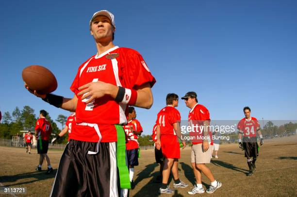 Chad Michael Murray star of 'One Tree Hill' readys his team before the charity football game on March 19 2004 in Wilmington North Carolina The cast...