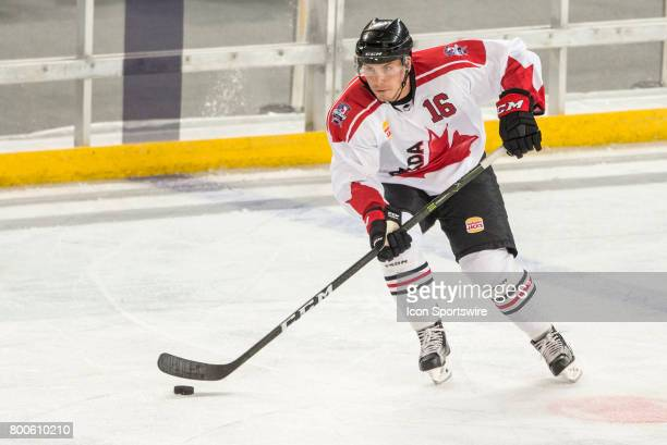 Chad Nehring of Team Canada controls the puck during the Melbourne Game of the Ice Hockey Classic on June 24 2017 held at Hisence Arena Melbourne...