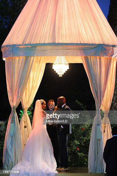 Chad Ochocinco and Evelyn Lozada marry at Le Chateau des Palmiers on July 4 2012 in St Maarten Netherlands Antillies