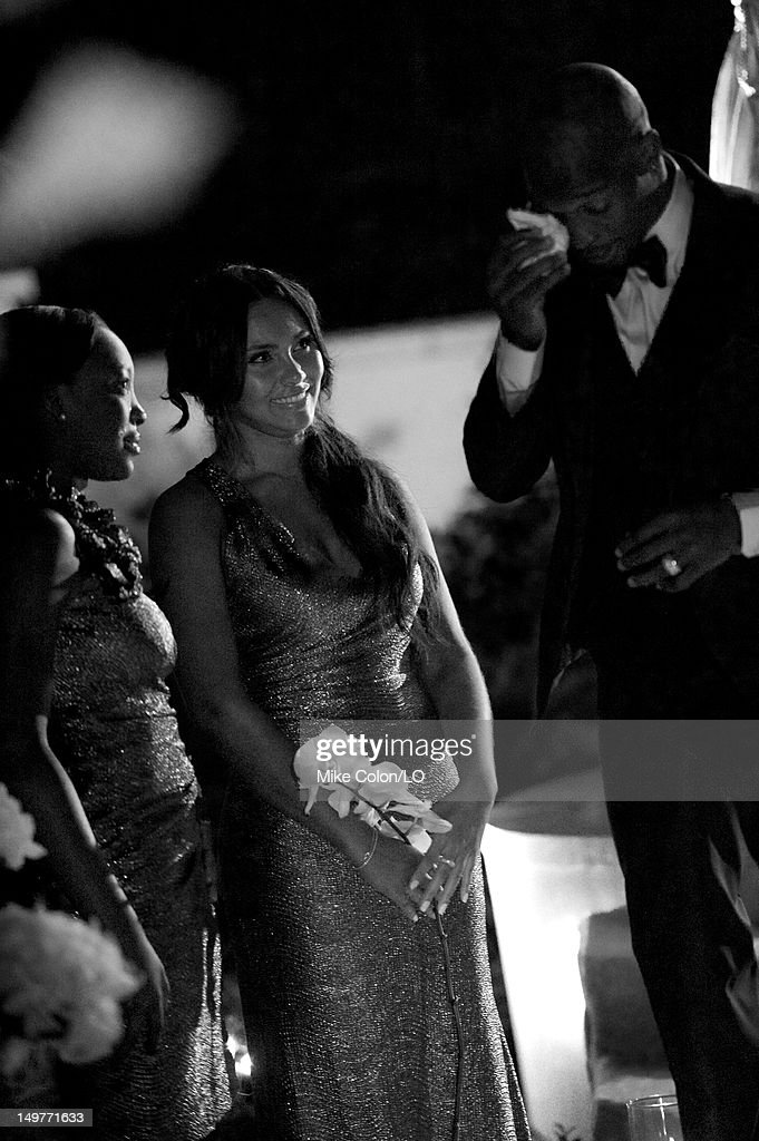 Chad Ochocinco and Evelyn Lozada marry at Le Chateau des Palmiers on July 4, 2012 in St. Maarten, Netherlands Antillies.