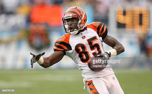 Chad Ochocinco of the Cincinnati Bengals carries the ball against the San Diego Chargers on December 20 2009 at Qualcomm Stadium in San Diego...