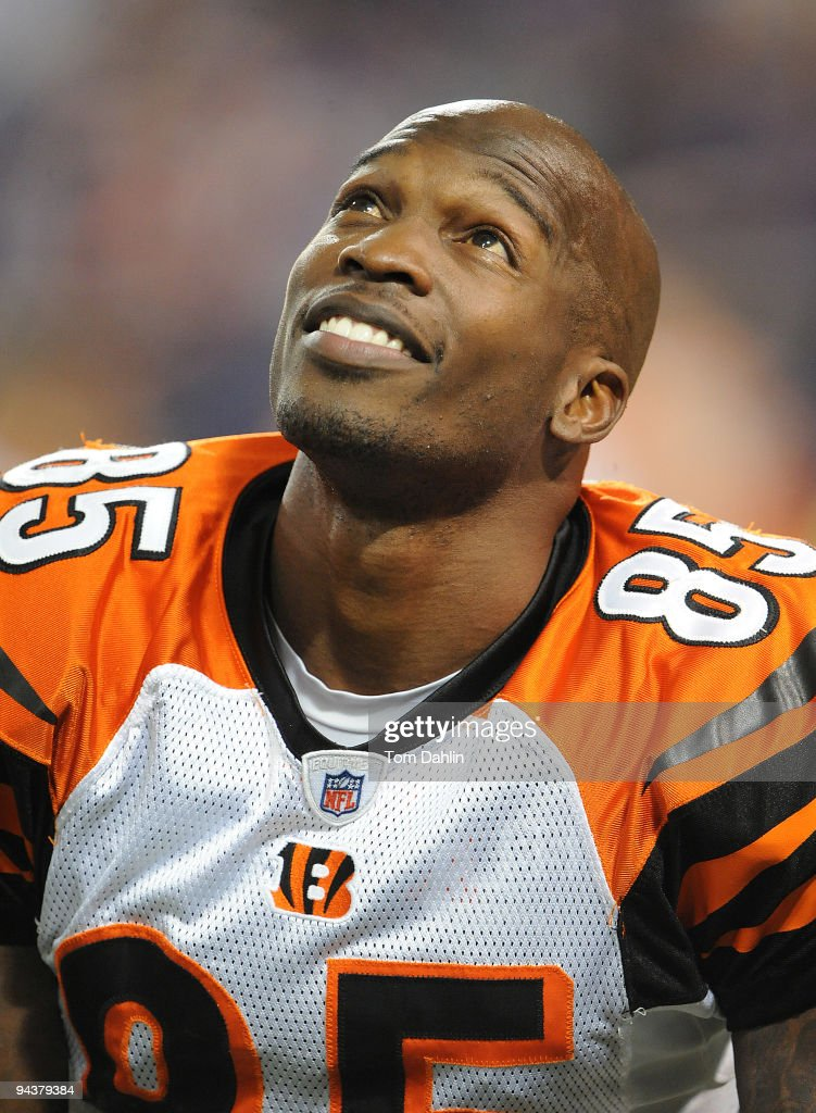 Chad Ochocinco #85 of the Cincinnati Bengals pauses during warmups at an NFL game against the Minnesota Vikings at the Mall of America Field at Hubert H. Humphrey Metrodome, December 13, 2009 in Minneapolis, Minnesota.
