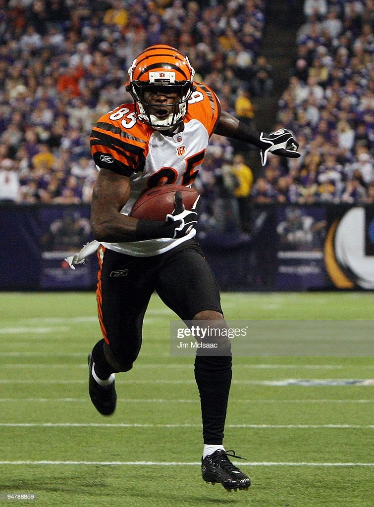 Chad Ochocinco #85 of the Cincinnati Bengals runs in a touchdown against the Minnesota Vikings on December 13, 2009 at Hubert H. Humphrey Metrodome in Minneapolis, Minnesota.