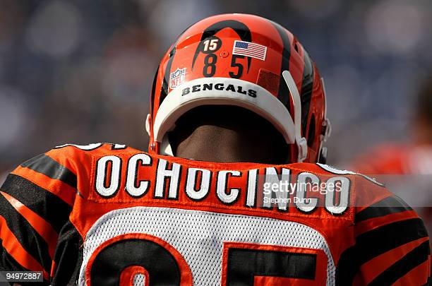 Chad Ochocinco of the Cincinnati Bengals wears the number 15 on his helmet honoring deceased teammate Chris Henry during warmups before the game with...