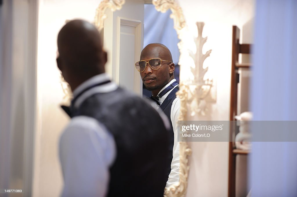 Chad Ochocinco prepares for his wedding to Evelyn Lozada at Le Chateau des Palmiers on July 4, 2012 in St. Maarten, Netherlands Antillies.