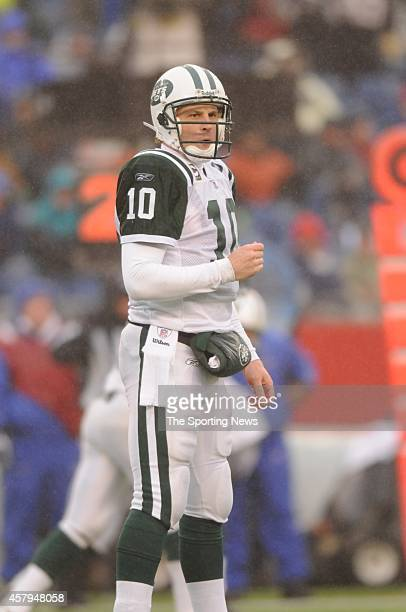 Chad Pennington of the New York Jets in action during a game against the New England Patriots on December 16 2007 at Gillette Stadium in Foxborough...