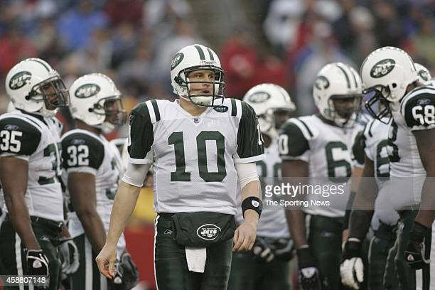 Chad Pennington of the New York Jets in action during a game against the New England Patriots on November 12 2006 at Gillette Stadium in Foxborough...