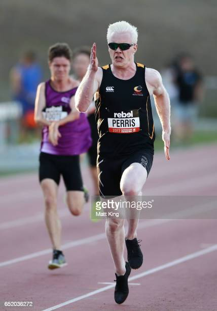 Chad Perris of ACT competes in the men's 100m Ambulant during the SUMMERofATHS Grand Prix on March 11 2017 in Canberra Australia