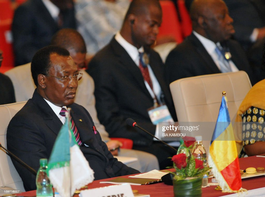 Chad Presiden Idriss Deby sits during the opening session of the regional bloc ECOWAS summit on expediting an African force to come to Mali's aid, on January 19, 2013 in Abidjan. Ivorian President and current head of the regional bloc ECOWAS, Alassane Ouattara today called for a broader international commitment to the military operations in Mali, where Malian and French forces are battling Islamist militant groups that control the country's vast arid north.