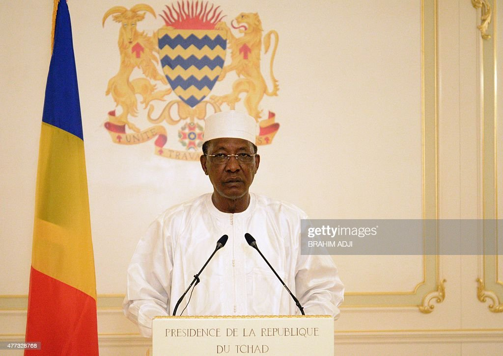 Chad president Idriis Deby Itno delivers a speech on June 16 2015 at the presidential palace in N'Djamena a day after twin suicide bombings blamed on...