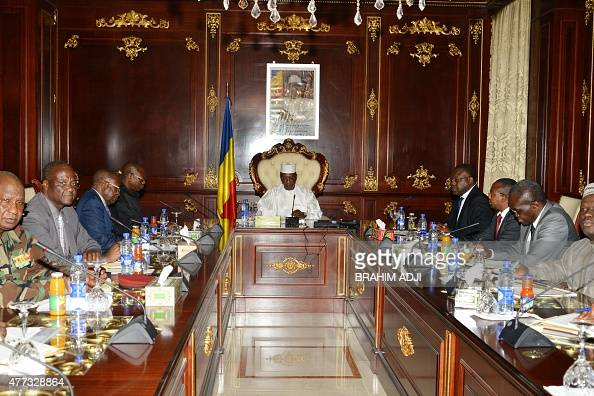 Chad president Idriis Deby Itno takes part in an extraordinary meeting on June 16 2015 at the presidential palace in N'Djamena a day after twin...