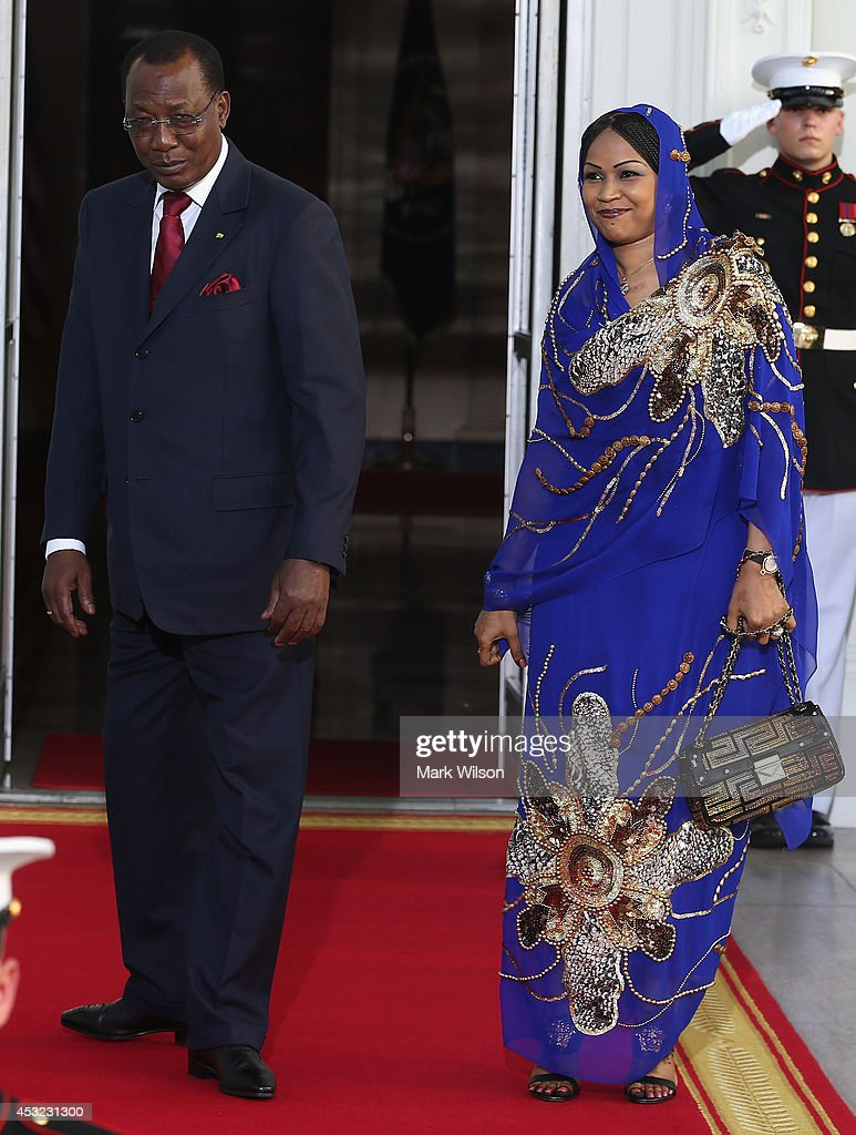 Chad President <a gi-track='captionPersonalityLinkClicked' href=/galleries/search?phrase=Idriss+Deby&family=editorial&specificpeople=4605749 ng-click='$event.stopPropagation()'>Idriss Deby</a> Itno and spouse Hinda Deby Itno arrive at the North Portico of the White House for a State Dinner on the occasion of the U.S. Africa Leaders Summit, August 5, 2014 in Washington, DC. African leaders are attending a three-day-long summit in Washington to strengthen ties between the United States and African nations.