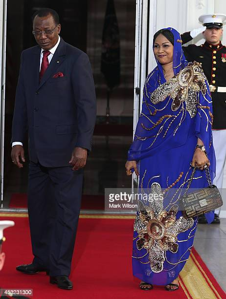 Chad President Idriss Deby Itno and spouse Hinda Deby Itno arrive at the North Portico of the White House for a State Dinner on the occasion of the...