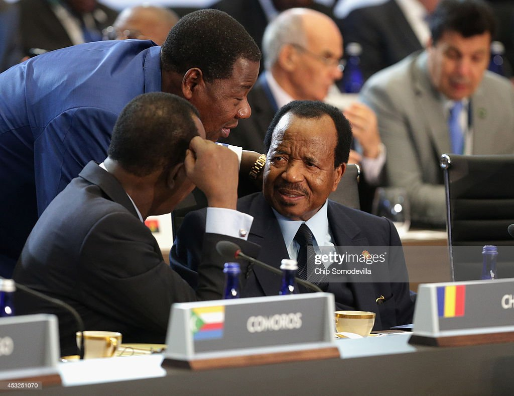 Chad President Idriss Deby Itno, Benin President Boni Yayi and Cameroon President Paul Biya visit before the first plenary session of the U.S.-Africa Leaders Summit at the State Department August 6, 2014 in Washington, DC. Obama hosted last day of the first-ever summit to strengthen ties between the United States and African nations.