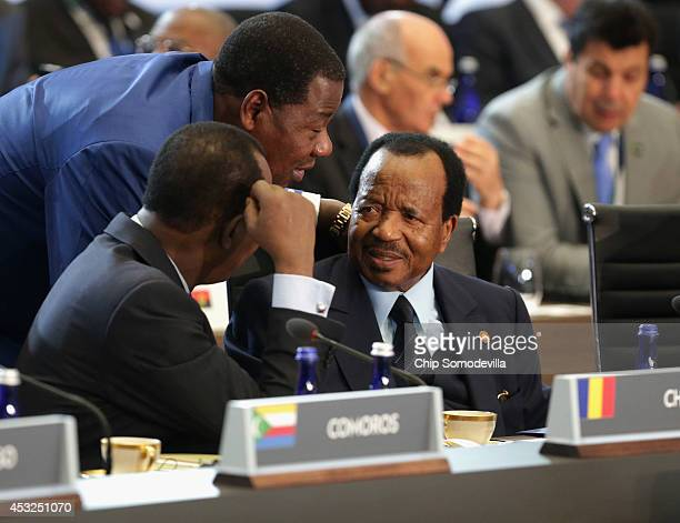 Chad President Idriss Deby Itno Benin President Boni Yayi and Cameroon President Paul Biya visit before the first plenary session of the USAfrica...