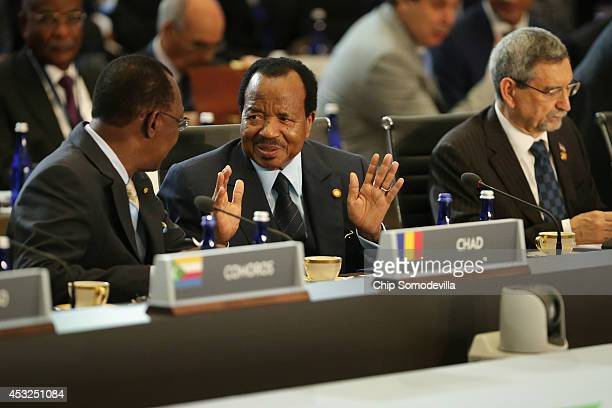 Chad President Idriss Deby Itno Cameroon President Paul Biya and Cabo Verde President Jorge Carlos de Almeida Fonseca prepare for the first plenary...