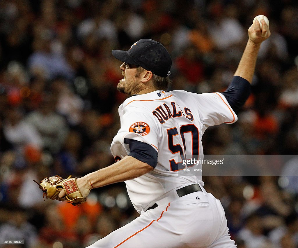 <a gi-track='captionPersonalityLinkClicked' href=/galleries/search?phrase=Chad+Qualls&family=editorial&specificpeople=588432 ng-click='$event.stopPropagation()'>Chad Qualls</a> #50 of the Houston Astros pitches in the ninth inning against the New York Yankees at Minute Maid Park on April 1, 2014 in Houston, Texas.