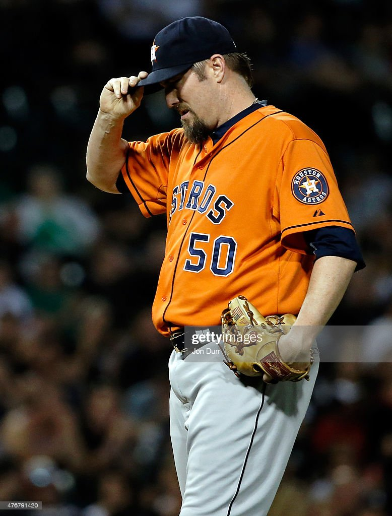 <a gi-track='captionPersonalityLinkClicked' href=/galleries/search?phrase=Chad+Qualls&family=editorial&specificpeople=588432 ng-click='$event.stopPropagation()'>Chad Qualls</a> #50 of the Houston Astros reacts after giving up a hit against the Chicago White Sox during the eighth inning on June 9, 2015 at U.S. Cellular Field in Chicago, Illinois.