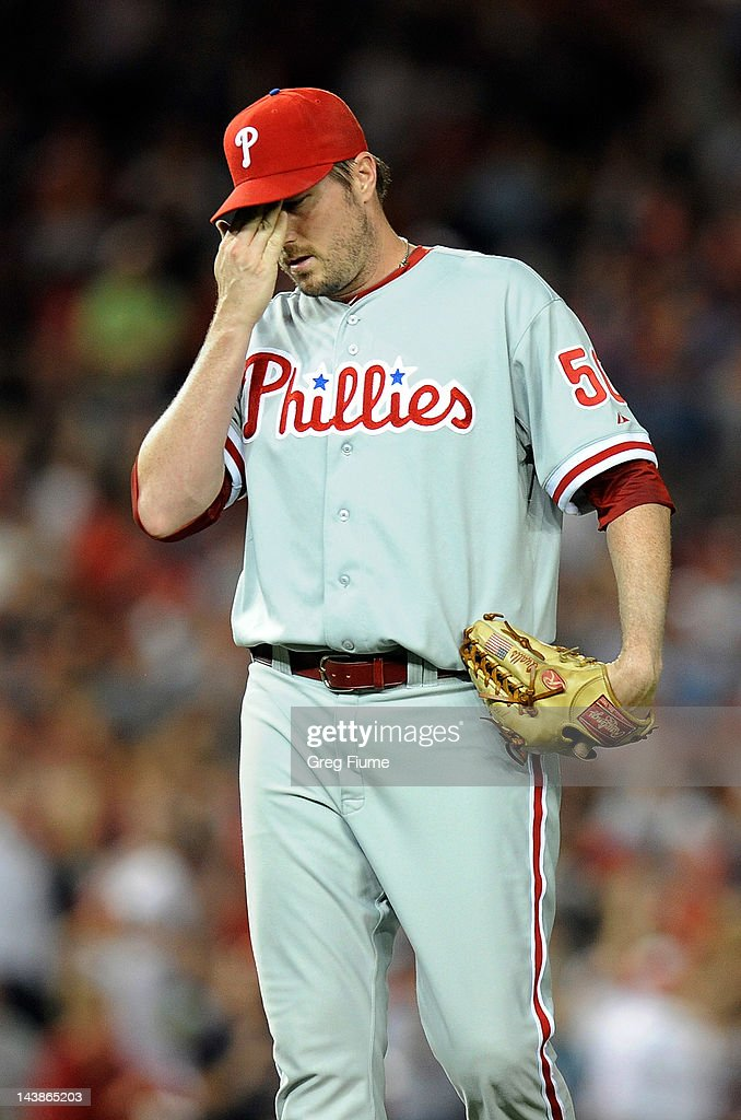 <a gi-track='captionPersonalityLinkClicked' href=/galleries/search?phrase=Chad+Qualls&family=editorial&specificpeople=588432 ng-click='$event.stopPropagation()'>Chad Qualls</a> #50 of the Philadelphia Phillies reacts after giving up a game tying double in the eighth inning against the Washington Nationals at Nationals Park on May 4, 2012 in Washington, DC.