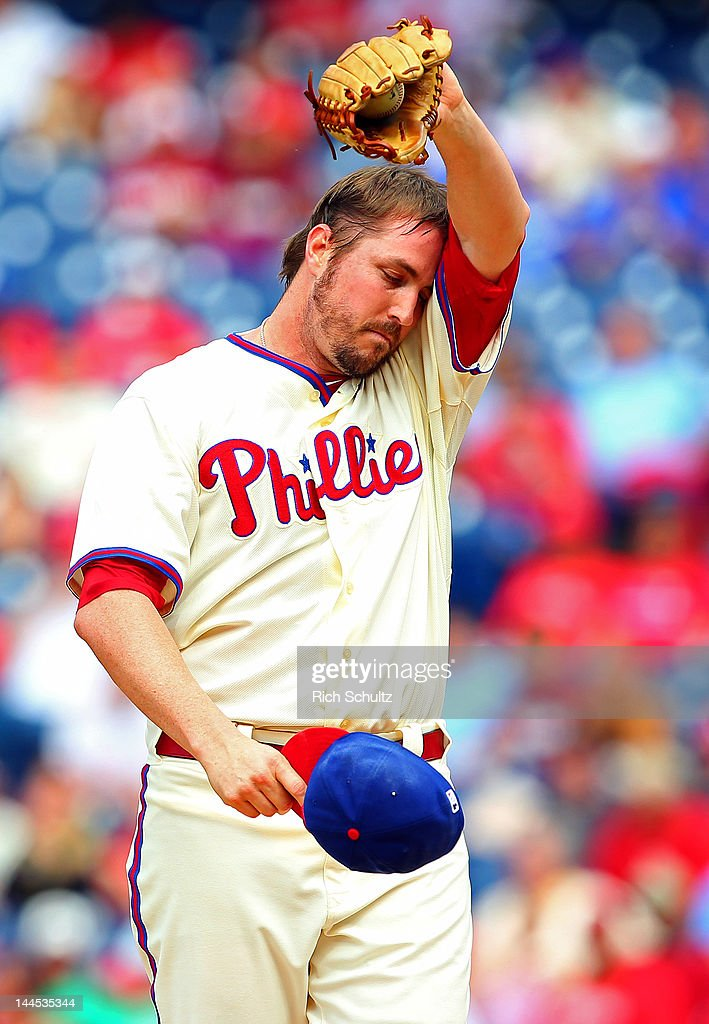 <a gi-track='captionPersonalityLinkClicked' href=/galleries/search?phrase=Chad+Qualls&family=editorial&specificpeople=588432 ng-click='$event.stopPropagation()'>Chad Qualls</a> #50 of the Philadelphia Phillies reacts after giving up two runs allowing the Houston Astros to tie the score in a MLB baseball game on May 15, 2012 at Citizens Bank Park in Philadelphia, Pennsylvania. The Phillies defeated the Astros 4-3.