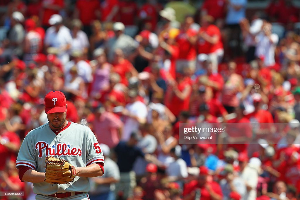 <a gi-track='captionPersonalityLinkClicked' href=/galleries/search?phrase=Chad+Qualls&family=editorial&specificpeople=588432 ng-click='$event.stopPropagation()'>Chad Qualls</a> #50 of the Philadelphia Phillies reacts to giving up a home run against the St. Louis Cardinals at Busch Stadium on May 27, 2012 in St. Louis, Missouri.