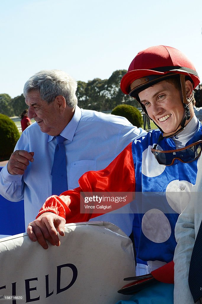 Chad Schofield after riding Finishing Card to win the Swettenham Stud Summer Championship Heat 1 at Caulfield Racecourse on December 26, 2012 in Melbourne, Australia.