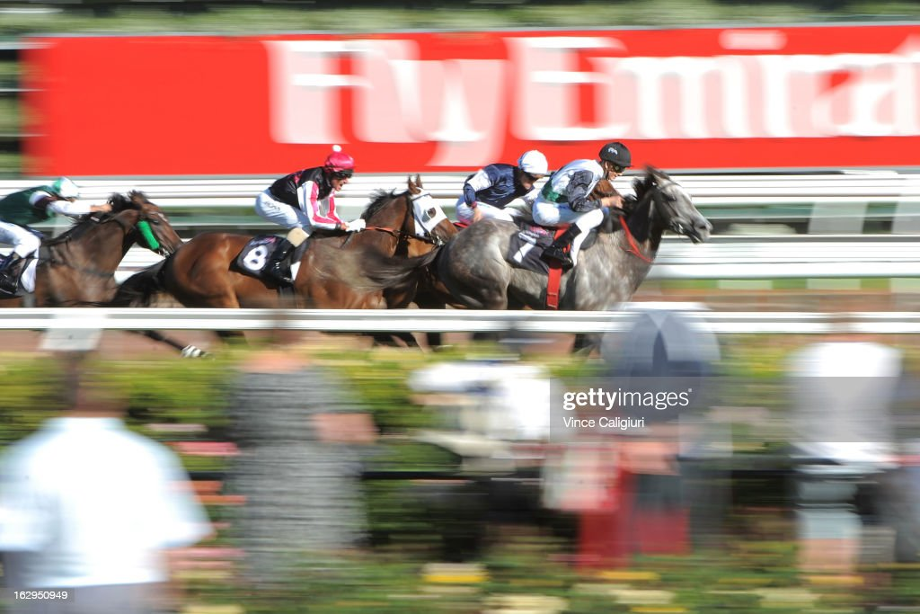 Chad Schofield riding Auld Burns winning the Saintly Handicap during Melbourne Racing at Flemington Racecourse on March 2, 2013 in Melbourne, Australia.