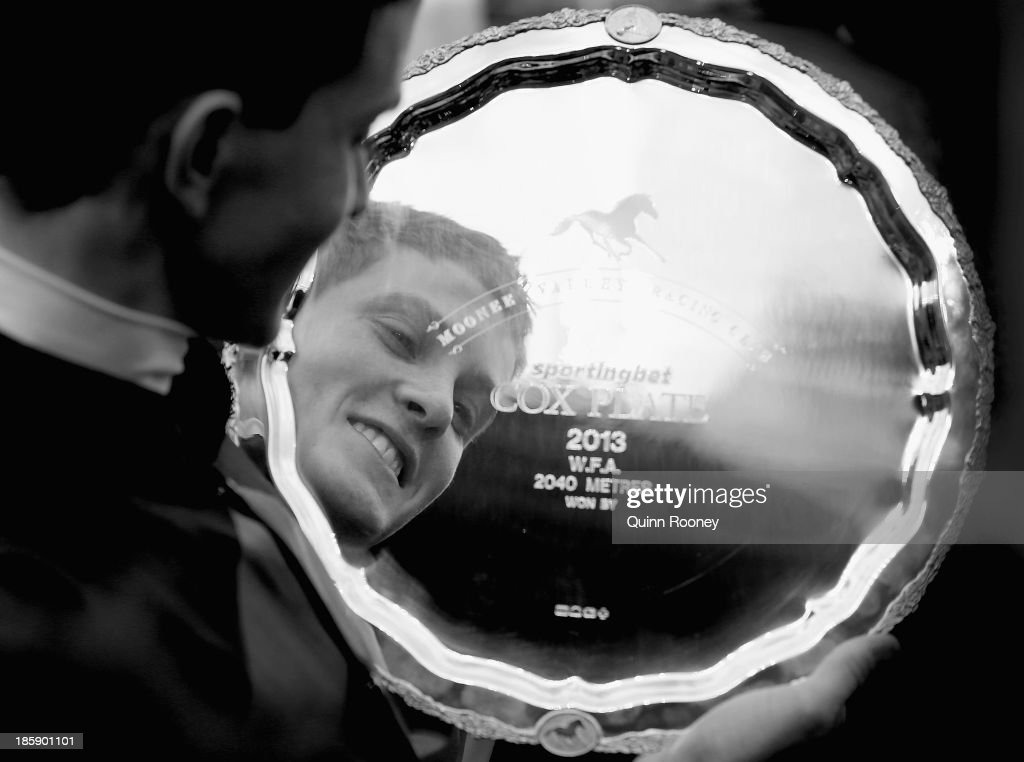 Chad Schofield who rode Shamus Award looks into the Cox Plate after winning the Sportingbet Cox Plate during Cox Plate Day at Moonee Valley Racecourse on October 26, 2013 in Melbourne, Australia.
