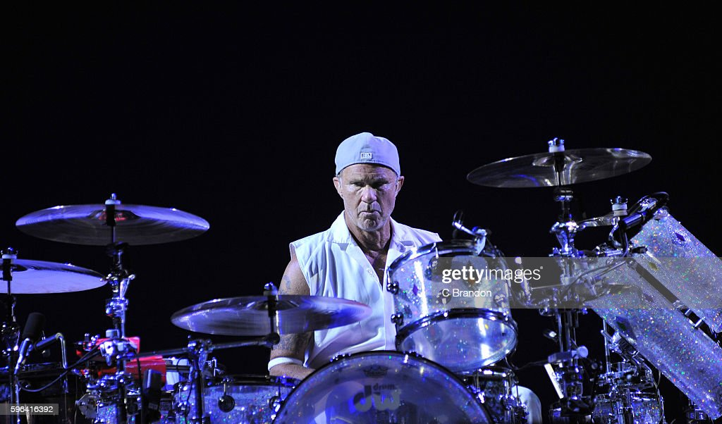 Chad Smith of Red Hot Chili Peppers headlines on the Main Stage during Day 2 of the Reading Festival at Richfield Avenue on August 27, 2016 in Reading, England.